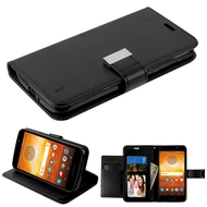 Xtra Series Essential Leather Wallet Stand Case for Motorola Moto E5 Play / E5 Cruise - Black