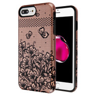 Fuse Slim Armor Hybrid Case for iPhone 8 Plus / 7 Plus / 6S Plus / 6 Plus - Lace Flowers Rose Gold