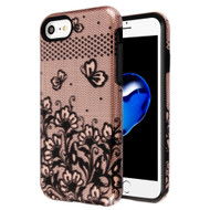 Fuse Slim Armor Hybrid Case for iPhone 8 / 7 / 6S / 6 - Lace Flowers Rose Gold