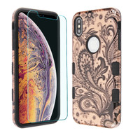 TUFF Lyte Hybrid Armor Case and Tempered Glass Screen Protector for iPhone XS Max - Phoenix Flower