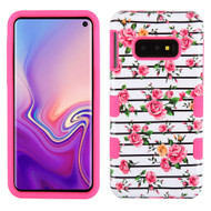 Military Grade Certified TUFF Hybrid Armor Case for Samsung Galaxy S10e - Pink Fresh Roses