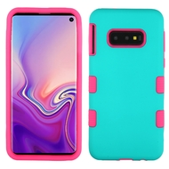 Military Grade Certified TUFF Hybrid Armor Case for Samsung Galaxy S10e - Teal Green Hot Pink