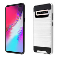 Brushed Coated Hybrid Armor Case for Samsung Galaxy S10 5G - Silver