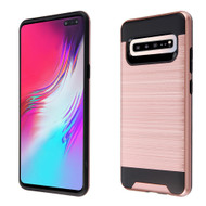 Brushed Coated Hybrid Armor Case for Samsung Galaxy S10 5G - Rose Gold