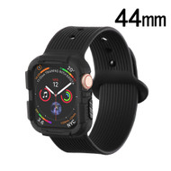 Rugged Silicone Sport Case with Band for Apple Watch 44mm Series 4 - Black
