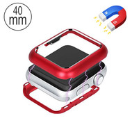 Magnetic Adsorption Aluminum Bumper Case for Apple Watch 40mm Series 4 - Red