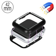 Magnetic Adsorption Aluminum Bumper Case for Apple Watch 42mm Series 1 / 2 / 3 - Black