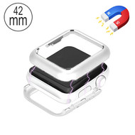 Magnetic Adsorption Aluminum Bumper Case for Apple Watch 42mm Series 1 / 2 / 3 - Silver
