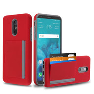 Poket Credit Card Hybrid Armor Case for LG Stylo 4 / Stylo 4 Plus - Red