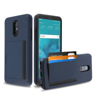 Poket Credit Card Hybrid Armor Case for LG Stylo 4 / Stylo 4 Plus - Navy Blue