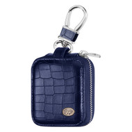 Crocodile Series Protective Leather Case for Apple AirPods - Navy Blue