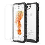 Tough Fusion-X 2-Piece Case and Tempered Glass Screen Protector for iPhone 8 / 7 / 6S / 6 - Black