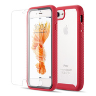 Tough Fusion-X 2-Piece Case and Tempered Glass Screen Protector for iPhone 8 / 7 / 6S / 6 - Red