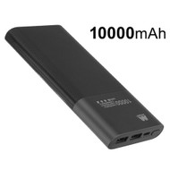 Portable 10000mAh Power Bank Dual USB Battery Pack - Black