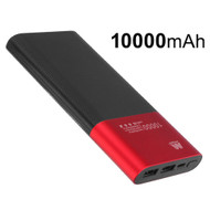 Portable 10000mAh Power Bank Dual USB Battery Pack - Red