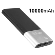Portable 10000mAh Power Bank Dual USB Battery Pack - Silver
