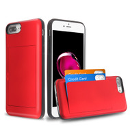 Stash Credit Card Hybrid Armor Case for iPhone 8 Plus / 7 Plus / 6S Plus / 6 Plus - Red