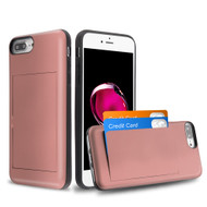 Stash Credit Card Hybrid Armor Case for iPhone 8 Plus / 7 Plus / 6S Plus / 6 Plus - Rose Gold