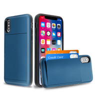 Stash Credit Card Hybrid Armor Case for iPhone XS / X - Navy Blue