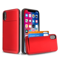 Stash Credit Card Hybrid Armor Case for iPhone XS / X - Red
