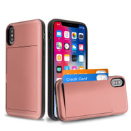 Stash Credit Card Hybrid Armor Case for iPhone XS / X - Rose Gold