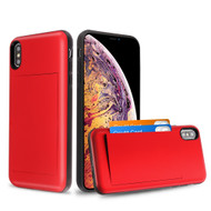 Stash Credit Card Hybrid Armor Case for iPhone XS Max - Red