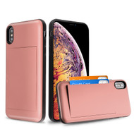 Stash Credit Card Hybrid Armor Case for iPhone XS Max - Rose Gold