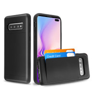 Stash Poket Credit Card Hybrid Armor Case for Samsung Galaxy S10 Plus - Black