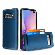 Stash Poket Credit Card Hybrid Armor Case for Samsung Galaxy S10 Plus - Navy Blue