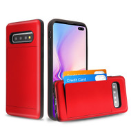 *Sale* Stash Poket Credit Card Hybrid Armor Case for Samsung Galaxy S10 Plus - Red