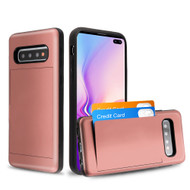Stash Poket Credit Card Hybrid Armor Case for Samsung Galaxy S10 Plus - Rose Gold