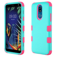 *Sale* Military Grade Certified TUFF Hybrid Armor Case for LG K40 - Teal Green Hot Pink 271