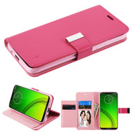 *Sale* Xtra Series Essential Leather Wallet Stand Case for Motorola Moto G7 Power / G7 Supra - Hot Pink