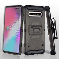 3-IN-1 Kinetic Hybrid Armor Case with Holster and Screen Protector for Samsung Galaxy S10 5G - Dark Grey