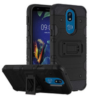 Military Grade Certified Storm Tank Hybrid Armor Case with Stand for LG K40 - Black
