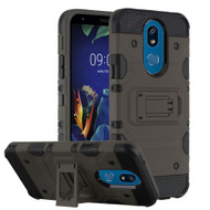 Military Grade Certified Storm Tank Hybrid Armor Case with Stand for LG K40 - Dark Grey