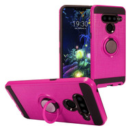 *Sale* Sports Hybrid Armor Case with Smart Loop Ring Holder for LG V50 ThinQ - Hot Pink