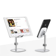 Literary Aluminum Desktop Stand for Smartphone and Tablet - Silver