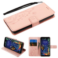 *Sale* Embossed Butterfly Flower Leather-Style Wallet Stand Case for LG K40 - Rose Gold