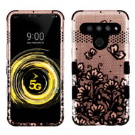 Military Grade Certified TUFF Hybrid Armor Case for LG V50 ThinQ - Lace Flowers Rose Gold