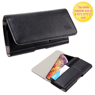 Horizontal Leather Folio Hip Case with Card Slot - Black 406