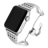 Open Cuff Bangle Stainless Steel Diamond Watch Band for Apple Watch 40mm / 38mm - Silver
