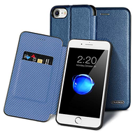 Royal 2 Series Genuine Leather Wallet Case for iPhone 8 / 7 / 6S / 6 - Navy Blue
