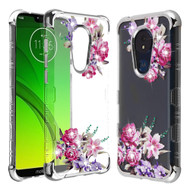 TUFF Klarity Lux Diamond Electroplating Transparent TPU Case for Motorola Moto G7 Power / G7 Supra - Romantic Flowers