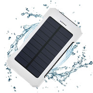 Solar Powered Portable Power Bank Battery Charger 8000mAh with Dual USB Ports - White