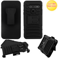 Advanced Armor Hybrid Kickstand Case with Holster Belt Clip for LG G8 ThinQ - Black