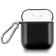 Carbon Fiber Silicone Protective Case with Carabiner Clip for Apple AirPods - Black