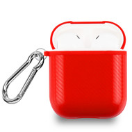 Carbon Fiber Silicone Protective Case with Carabiner Clip for Apple AirPods - Red