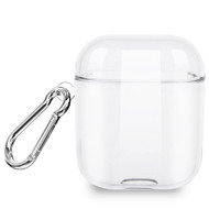 Transparent Silicone Protective Case with Carabiner Clip for Apple AirPods - Clear