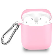 Transparent Silicone Protective Case with Carabiner Clip for Apple AirPods - Pink